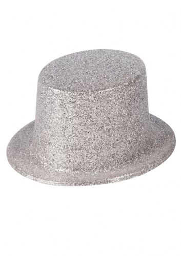 Hat Topper Glitter Silver Adult